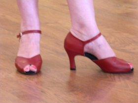 renee's cranberry peep-toe tango shoes
