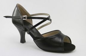 women's open-toe tango and ballroom dance shoe - black