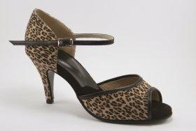 women's open-toe tango and ballroom dance shoe - leopard
