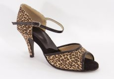 women's open-toe tango shoe and ballroom shoe - leopard