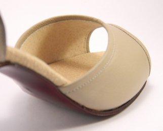 women's peep-toe tango shoe and ballroom shoe beige leather lining