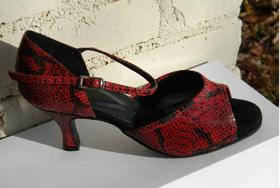 women's open-toe tango and ballroom dance shoe - red snake