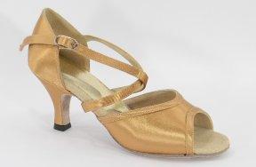 women's open-toe tango and ballroom dance shoe - suntan satin