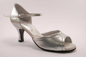 women's open-toe tango and ballroom dance shoe - silver