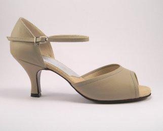 women's open-toe tango shoe and ballroom shoe profile