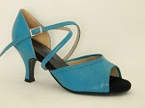 women's open-toe tango shoe and ballroom shoe turquoise