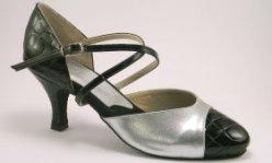 women's cap-toe tango shoe and ballroom shoe - croc and silver