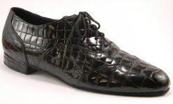 men's wingtip tango shoe and ballroom shoe - black croc