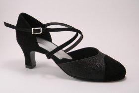 women's closed-toe tango shoe and ballroom shoe - black suede