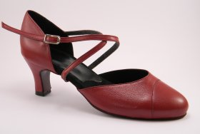 women's closed-toe tango shoe and ballroom shoe - cranberry