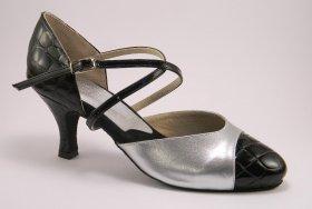 women's closed-toe tango shoe and ballroom shoe - croc and silver