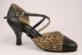 women's closed-toe tango shoe and ballroom shoe - leopard