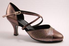 women's closed-toe tango shoe and ballroom shoe - pewter