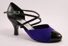 women's closed-toe tango shoe and ballroom shoe - purple blue suede