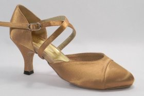 women's closed-toe tango shoe and ballroom shoe - suntan satin