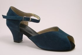 women's peep-toe tango shoe and ballroom shoe - forest green suede