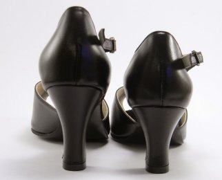 women's peep-toe tango shoe and ballroom dance shoe heel comparison
