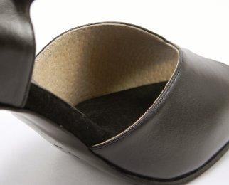 women's peep-toe tango shoe and ballroom dance shoe beige leather lining