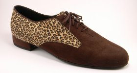 men's oxford tango shoe and ballroom shoe - leopard and brown suede