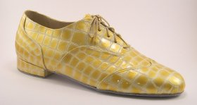 men's wingtip tango shoe and ballroom shoe - champagne croc