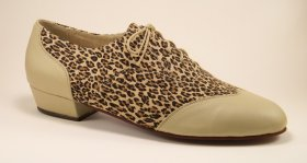 men's wingtip tango shoe and ballroom shoe, boot heel - leopard