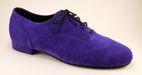 men's wingtip tango and ballroom dance shoe - purple-blue suede