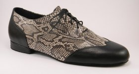 men's wingtip tango shoe and ballroom shoe - black-white python