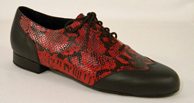 men's wingtip tango and ballroom dance shoe - black and red snake