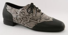 mens wingtip tango shoe and ballroom shoe - black and white python