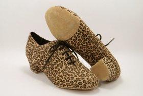 women's split-sole ballroom practice shoe - leopard suede
