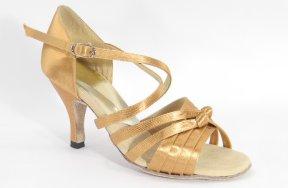 women's open-toe tango shoe and ballroom shoe - suntan satin